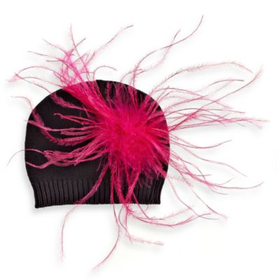 Mud Pie™ Zebra Knit Hat with Pink Ostrich Feathers