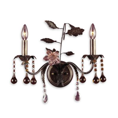 Cristallo Fiore Wall Light Bracket in Deep Rust With Glass and Crystal Accents