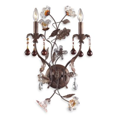 2-Light Wall Fixture with Italian Charm and Rust-Colored Glass Florets