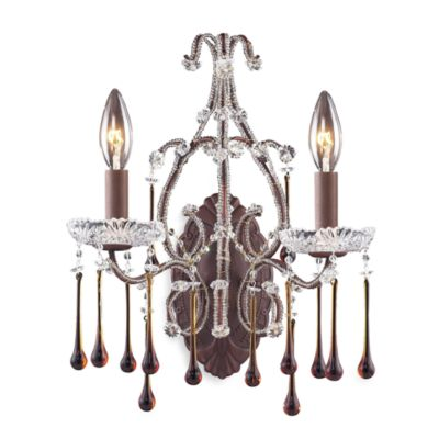 ELK Lighting Rustic Amber Crystal 2-Light Wall Bracket Lighting with a Bronze Finish