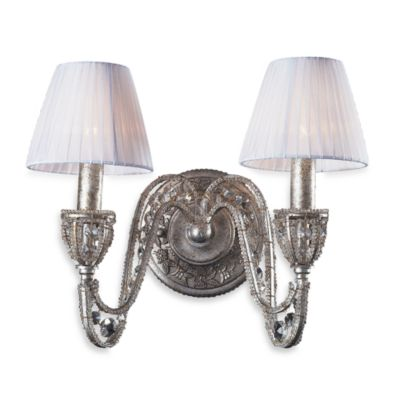 Sunset Silver 2-Light Wall Bracket Featuring Crystal Accents