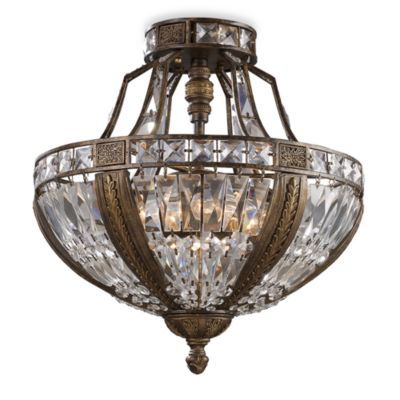 ELK Lighting Millwood 6-Light Semi-Flush Ceiling Light in Antique Bronze with Crystal Shade
