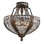 Millwood 6 Light Semi-Flush Mount Ceiling Light Fixture With Antique Bronze Finish and Crystal Shade
