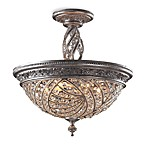 Imported Canadian 6 Light Semi Flush in Sunset Silver and Crystal Accents