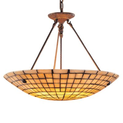 Brass and Glass Mosaic 8 Light Pendant Fixture