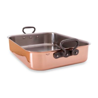 Mauviel M'heritgage 150c Copper 15.7-Inch x 11.8-Inch Roaster with Cast Iron Handles and Rack