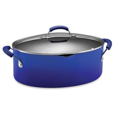 Rachael Ray Hard Enamel 8-Quart Covered Pasta Pot - Blue