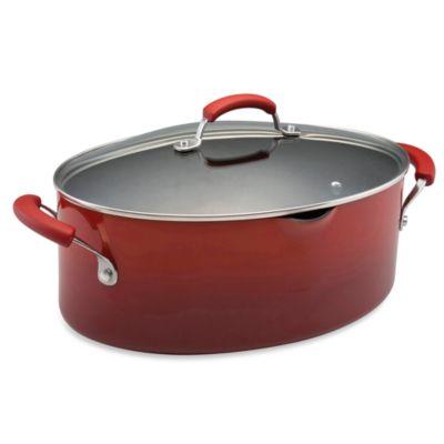 Rachael Ray Hard Enamel 8 Quart Pasta Pot - Red