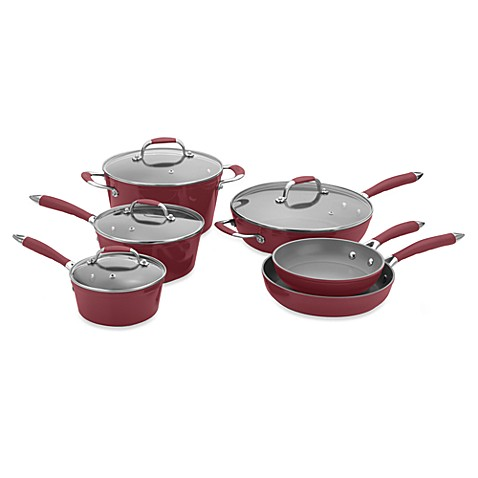 Michelle B by Fagor® 10-Piece Forged Aluminum Cookware Set - Red