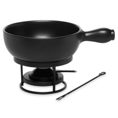 Emile Henry Flame Top Black 2.6-Quart Fondue Set