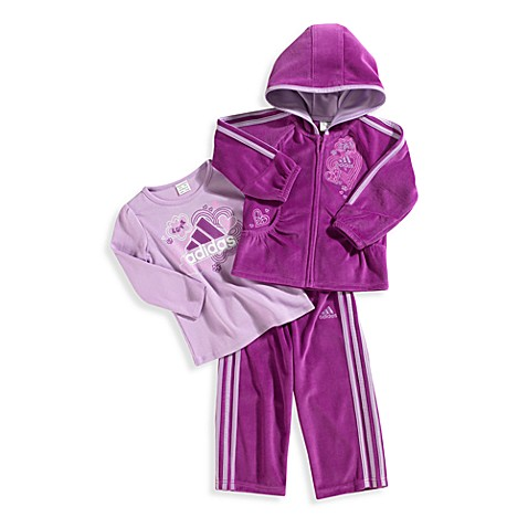 Adidas® Kids Fuschia 3-Piece Velour Set - 24 Months