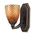 ELK Lighting 1-Light Vanity Light in Aged Bronze with Coco Glass