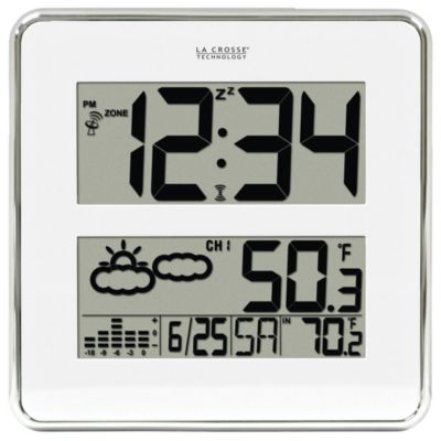 La Crosse® 11-Inch Square Atomic Clock with Wireless Weather