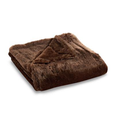 Snowy Soft Throw in Chocolate