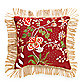 Red Floral Vine 18-Inch Square Throw Pillow