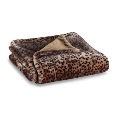 Leopard Faux-Fur to Micro-Mink Reversible Throw