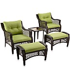 5-Piece Deep Seat Wicker Lounge Set with Green Cushions