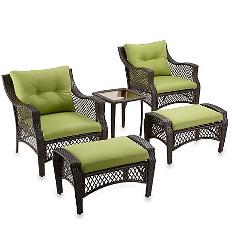 Stratford 5-Piece Deep Seat Wicker Lounge Set