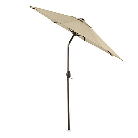 7-Foot Outdoor Bistro Umbrella with Aluminum Frame - Natural
