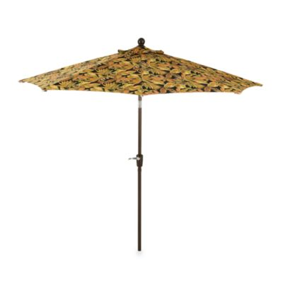 9-Foot Round Collar-Tilt Market Umbrella in Paisley Black