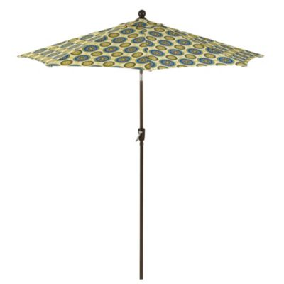 9-Foot Round Collar-Tilt Market Umbrella in Bindis Blue