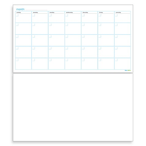 Real Simple Dry-Erase Monthly Calendar Combo Set