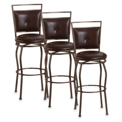 Linon Home Madison Metal Stools in Adjustable Height (Set of 3)