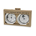 Ore Pet™ Comic Kitty Black & Grey Cat Bowls (Set of 2)