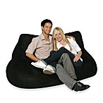 Two-Seater Black Plush Bean Bag Chair Cover