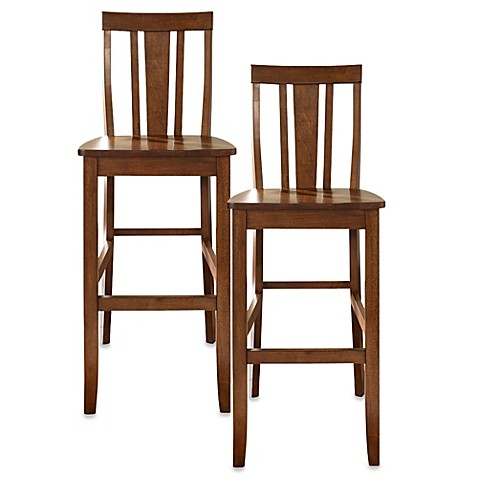 Crosley Shield-Back 30-Inch Barstools in Classic Cherry (Set of 2)
