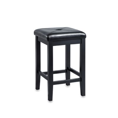 Crosley Upholstered 24-Inch Square-Seat Barstools in Black (Set of 2)