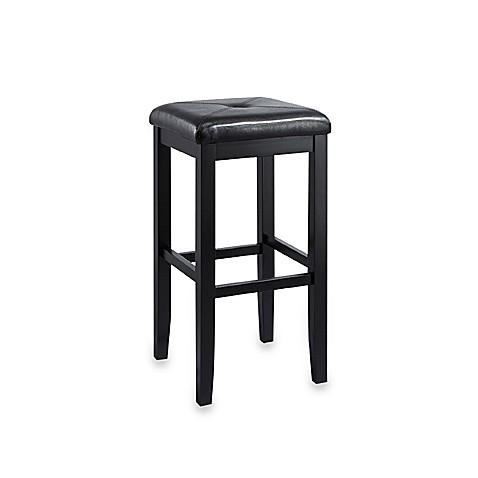 Crosley Upholstered 29-Inch Square-Seat Barstools in Black (Set of 2)