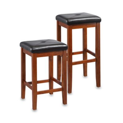 Crosley Upholstered 24-Inch Square-Seat Barstools in Vintage Mahogany (Set of 2)