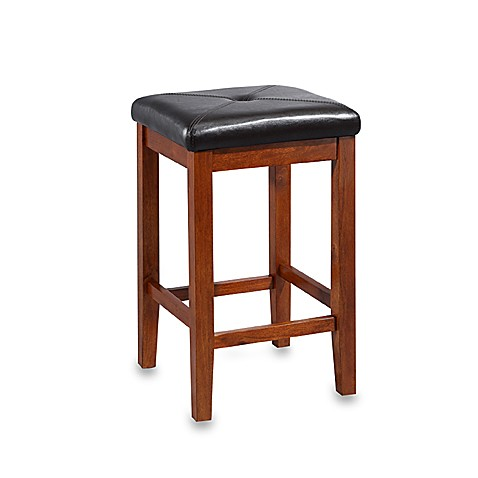 Crosley Upholstered 24-Inch Square-Seat Barstools in Classic Cherry (Set of 2)