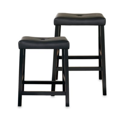 Crosley Upholstered 24-Inch Saddle Seat Barstools in Black (Set of 2)