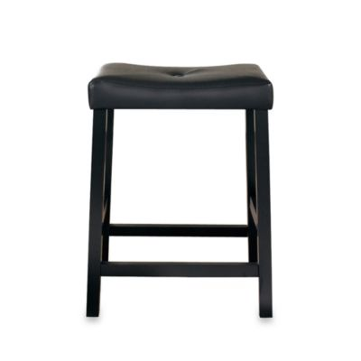 Upholstered 24-Inch Saddle Seat Bar Stools in Black Finish (Set of 2)