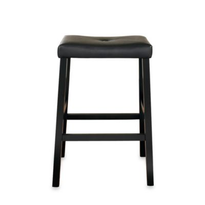 Upholstered 29-Inch Saddle Seat Bar Stools in Black Finish (Set of 2)