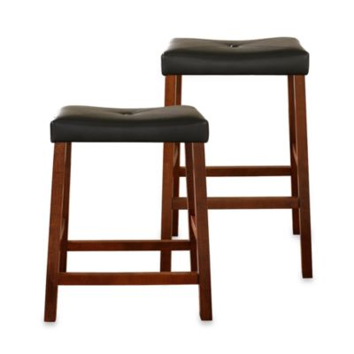Crosley Upholstered 24-Inch Saddle Seat Barstools in Classic Cherry (Set of 2)