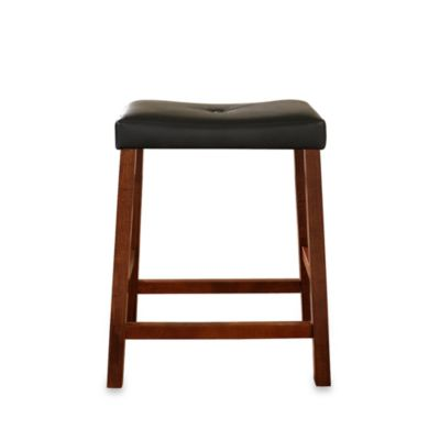 Upholstered 24-Inch Saddle Seat Bar Stools in Classic Cherry Finish (Set of 2)