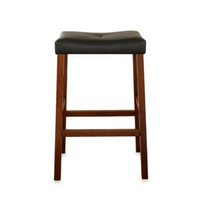Upholstered 29-Inch Saddle Seat Bar Stools in Classic Cherry Finish (Set of 2)