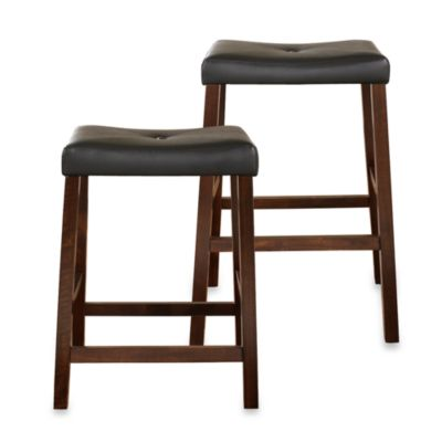 Crosley Upholstered 24-Inch Saddle Seat Barstools in Vintage Mahogany (Set of 2)