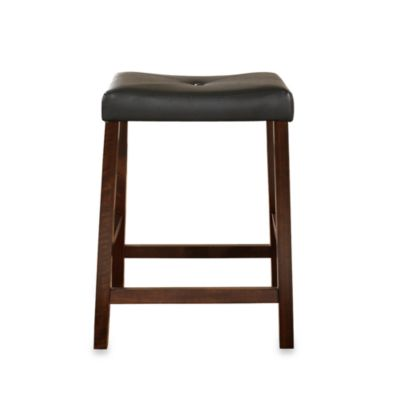 Upholstered 24-Inch Saddle Seat Bar Stools in Vintage Mahogany Finish (Set of 2)