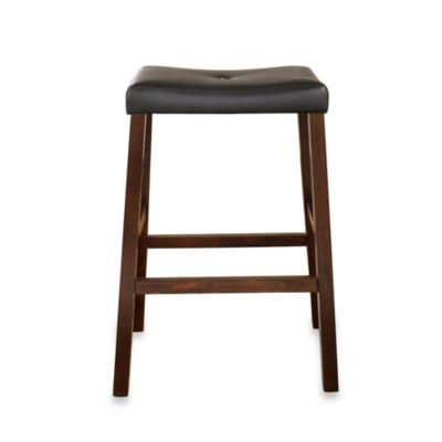 Upholstered 29-Inch Saddle Seat Bar Stools in Vintage Mahogany Finish (Set of 2)