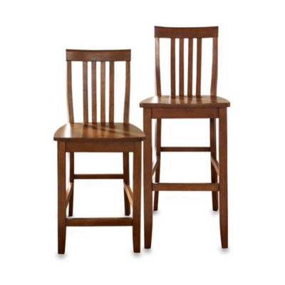 Crosley School House 30-Inch Barstools in Vintage Mahogany (Set of 2)
