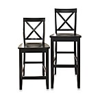 Crosley X-Back Bar Stools in Black (Set of 2)