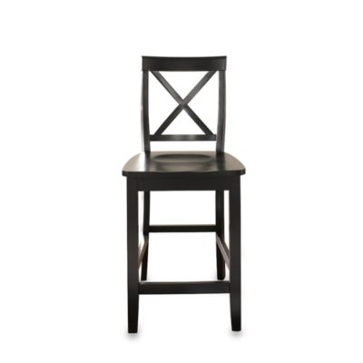 X-Back Bar Stools in Black Finish with 24-Inch Seat Height (Set of 2)