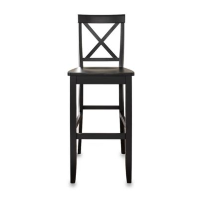 X-Back Bar Stools in Black Finish with 30-Inch Seat Height (Set of 2)