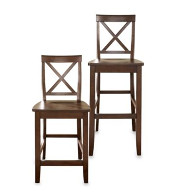 Crosley X-Back 24-Inch Barstool in Mahogany (Set of 2)