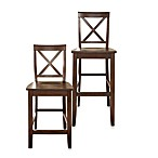 Crosley X-Back Bar Stools in Vintage Mahogany (Set of 2)