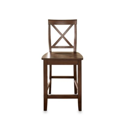 X-Back Bar Stools in Vintage Mahogany Finish with 24-Inch Seat Height (Set of 2)